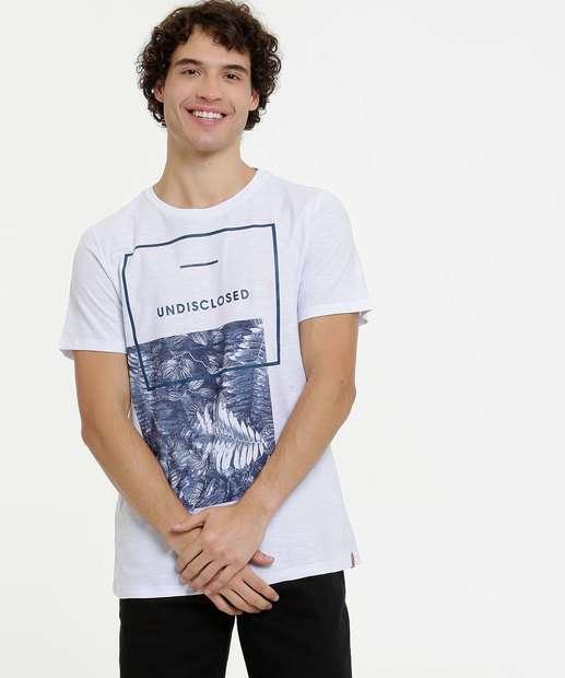 Image_Camiseta Masculina Flamê Estampa Folhas Manga Curta