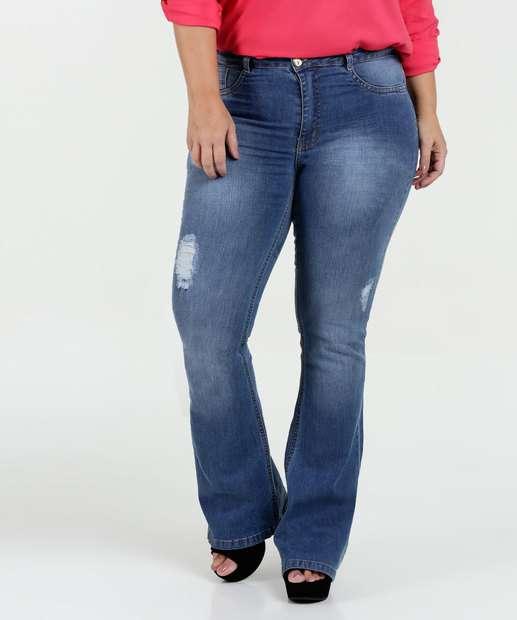 Image_Calça Feminina Jeans Puídos Flare Plus Size Razon