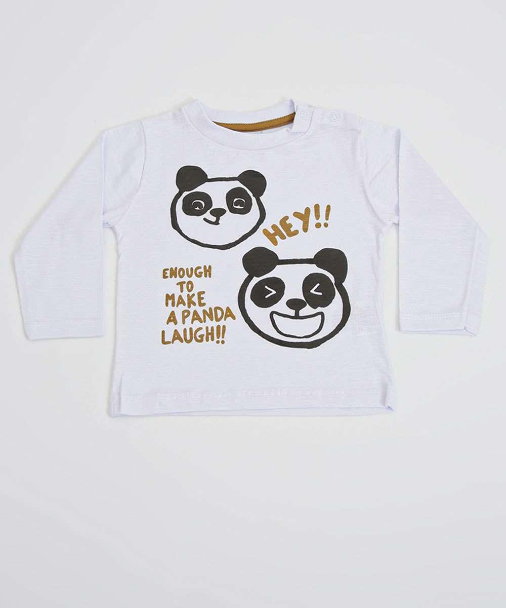Camiseta Infantil Bebê Estampa Panda Manga Longa