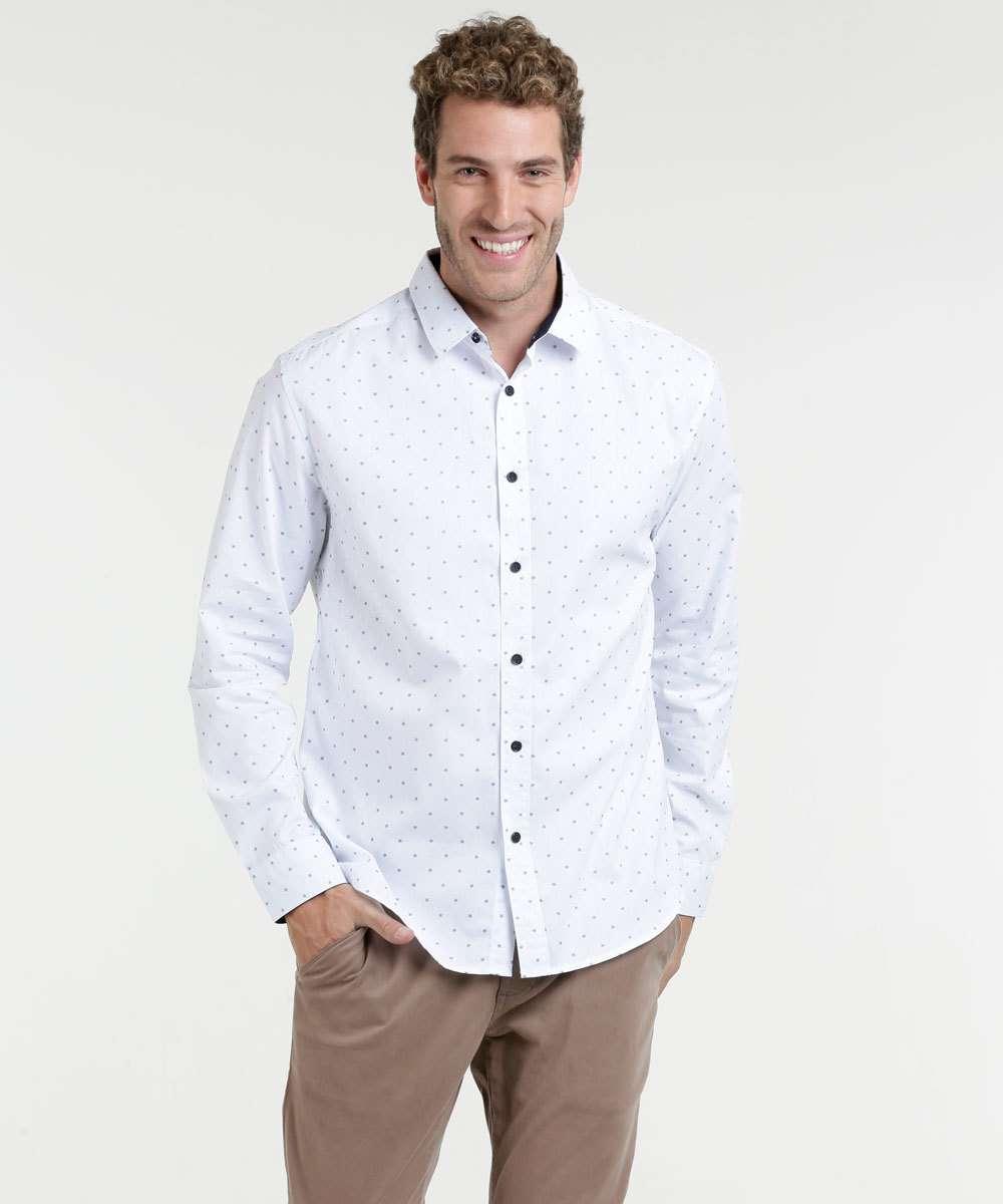 c7ff5b401c Camisa Masculina Estampa Bolinha Manga Longa Marisa