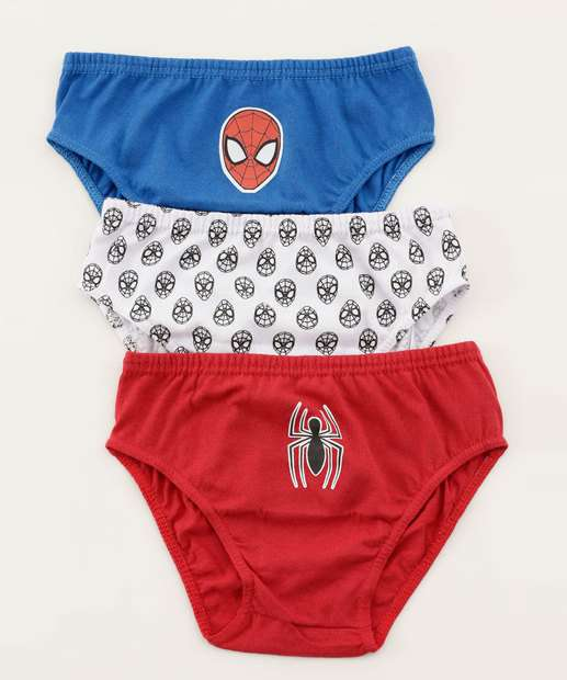 Image_Kit 3 Cuecas Infantil Estampa Homem Aranha Marvel