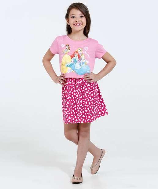 Image_Vestido Infantil Estampa Coração Princesas Disney