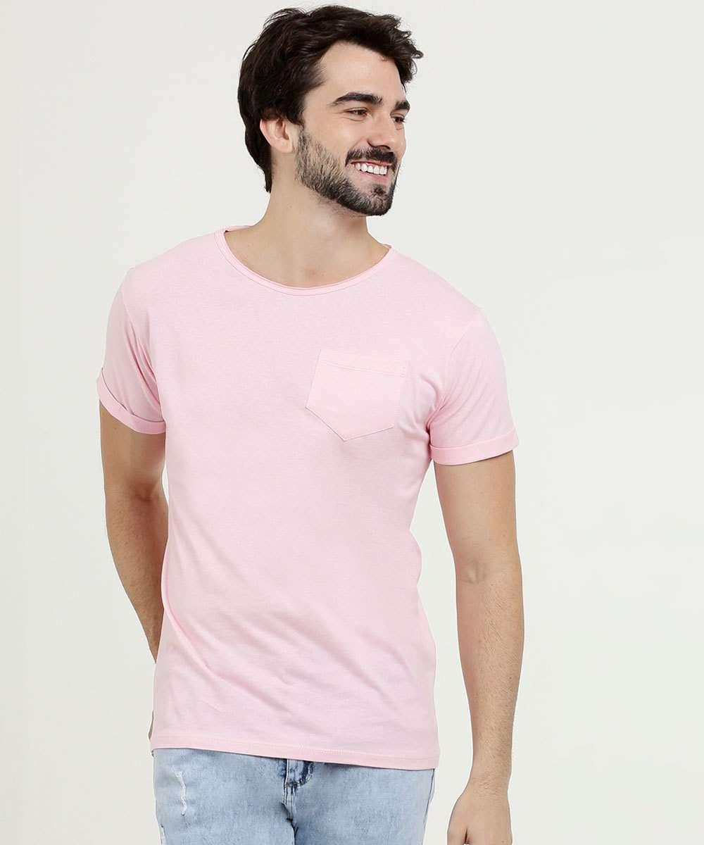 Camiseta Masculina Bolso Manga Curta