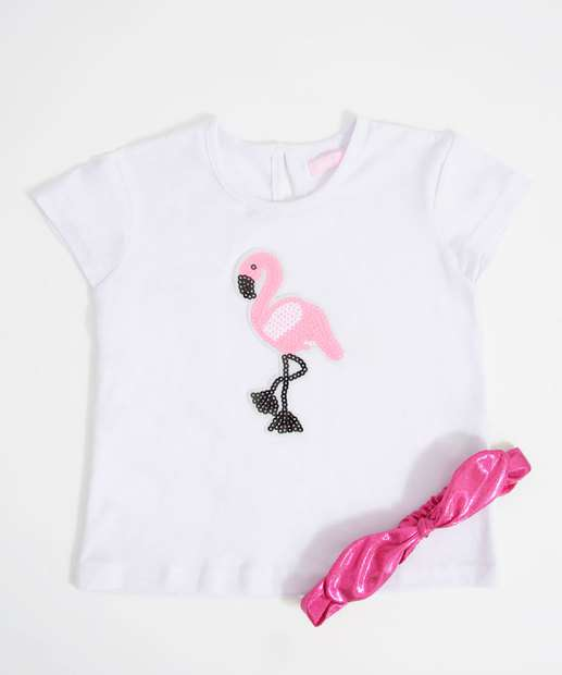 Image_Blusa Infantil Estampa Flamingo Brinde Tiara Marisa