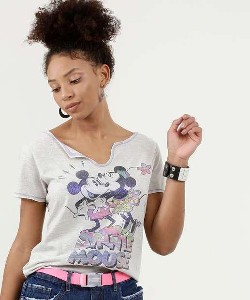 Image_Blusa Feminina Estampa Mickey e Minnie Manga Curta Disney
