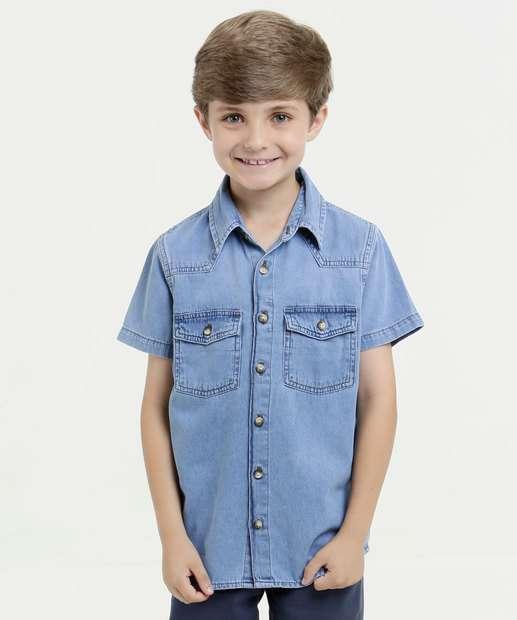 Image_Camisa Infantil Jeans Manga Curta Mr