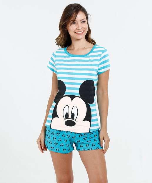 Image_ Pijama Feminino Estampa Mickey Manga Curta Disney