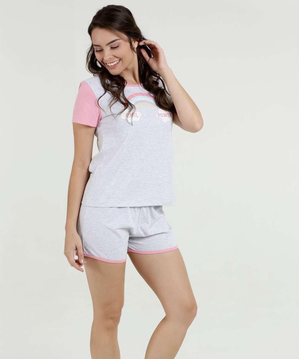 fb351de8f Pijama Feminino Estampa Frontal Manga Curta Marisa