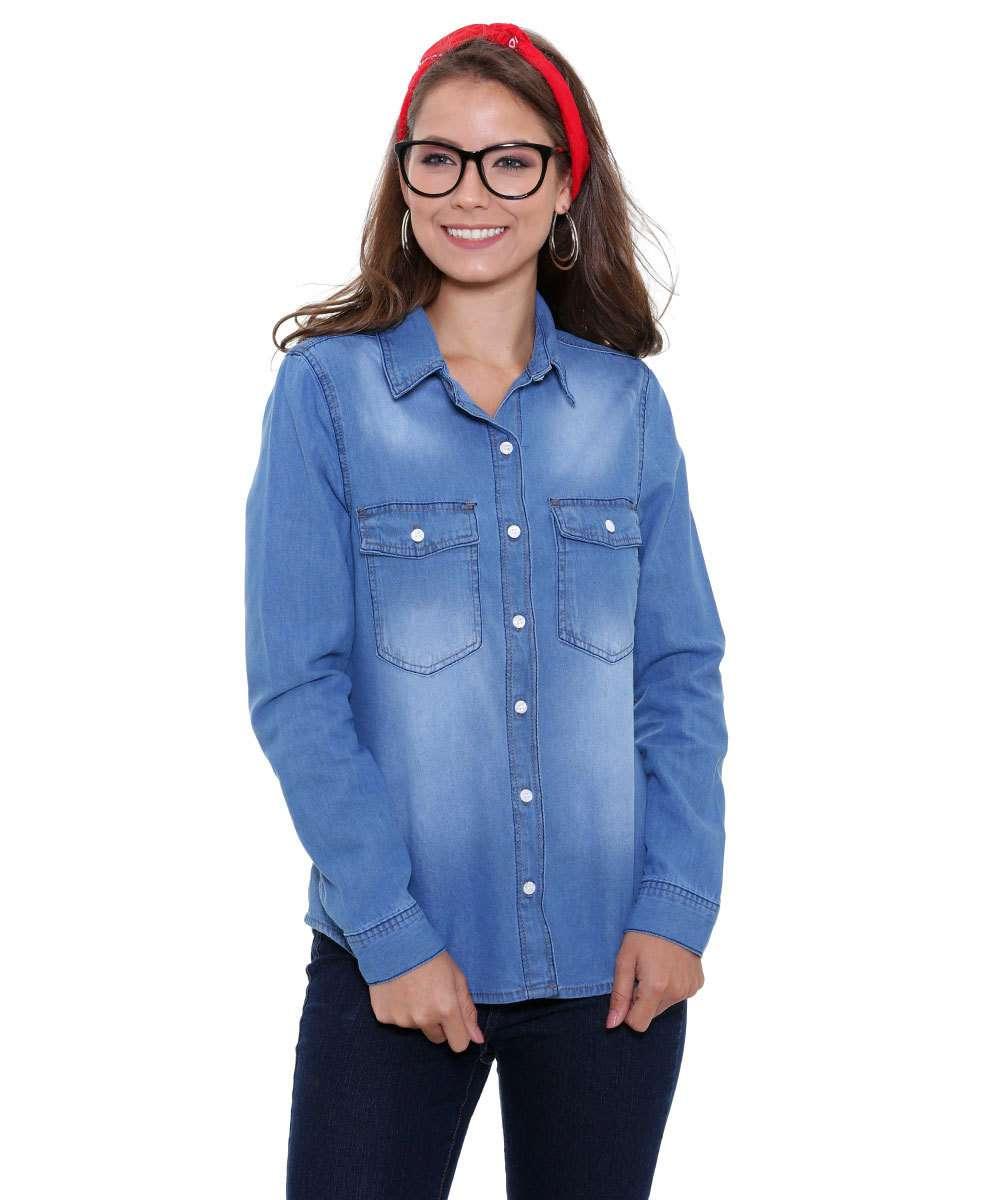 914198ffb7 Camisa Feminina Jeans Manga Longa Marisa
