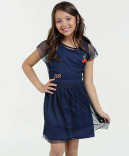 Vestido Infantil Tule Patches Manga Curta Marisa
