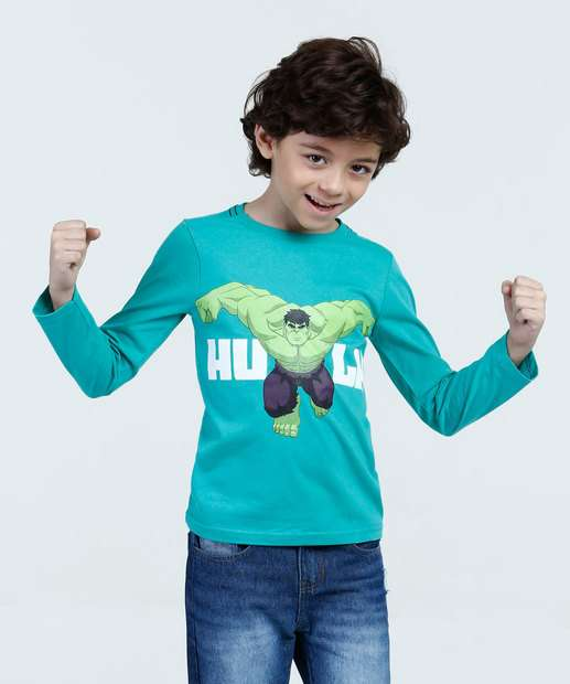 Image_Camiseta Infantil Hulk Manga Longa Marvel