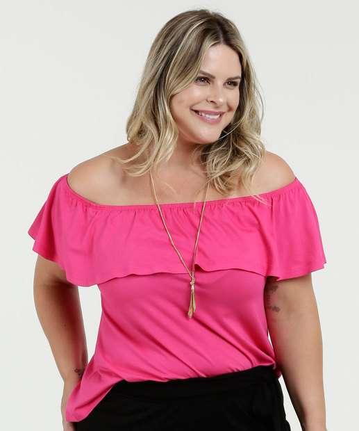 Image_Blusa Feminina Ombro a Ombro Babado Plus Size Luktal