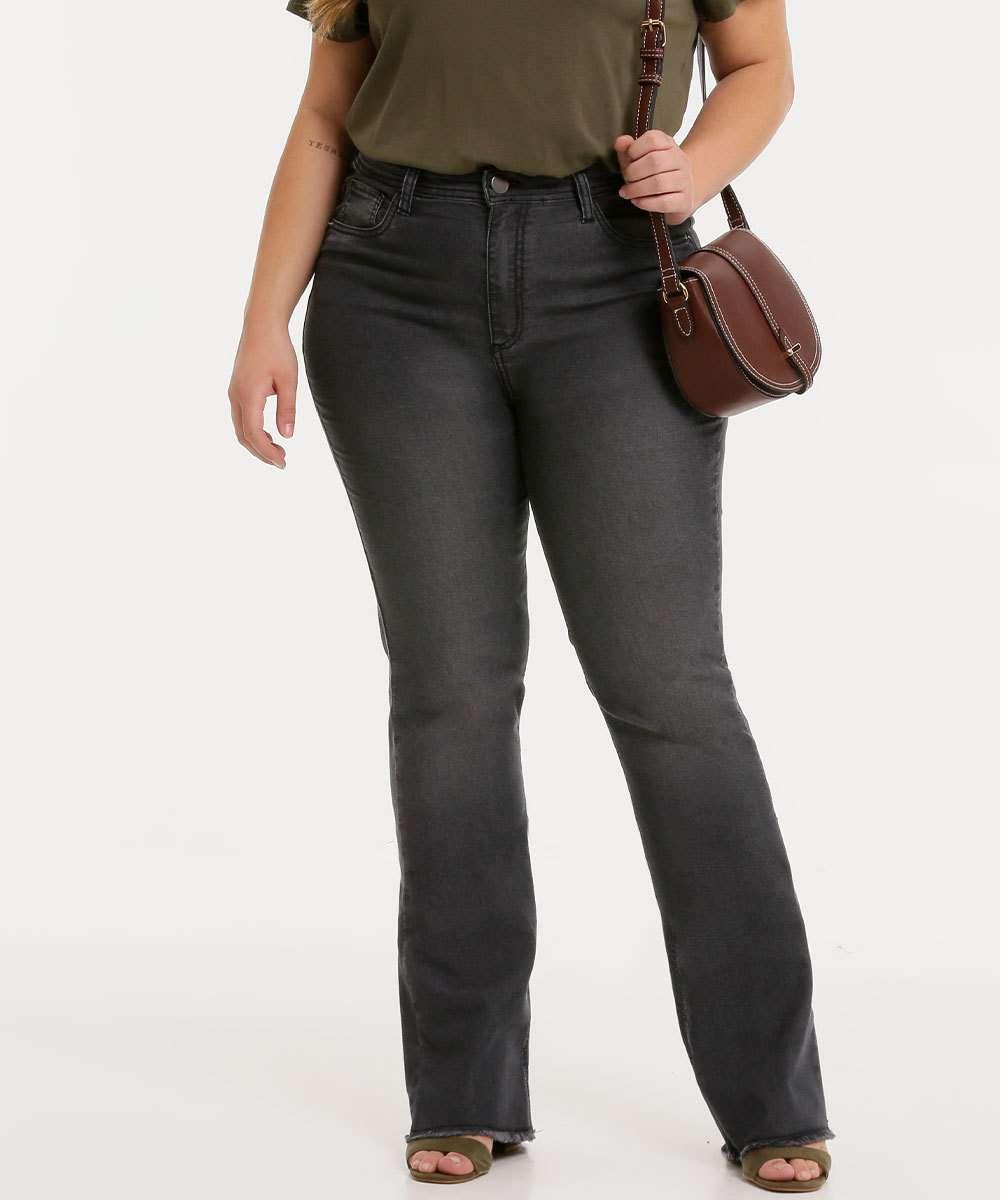 Calça Plus Size Feminina Jeans Flare Barra Desfiada