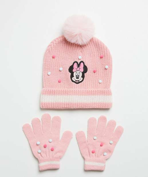 Image_Kit Gorro e Luva Infantil Estampa Minnie Disney
