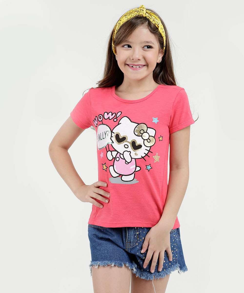 Blusa Infantil Estampa Hello Kitty Manga Curta Sanrio