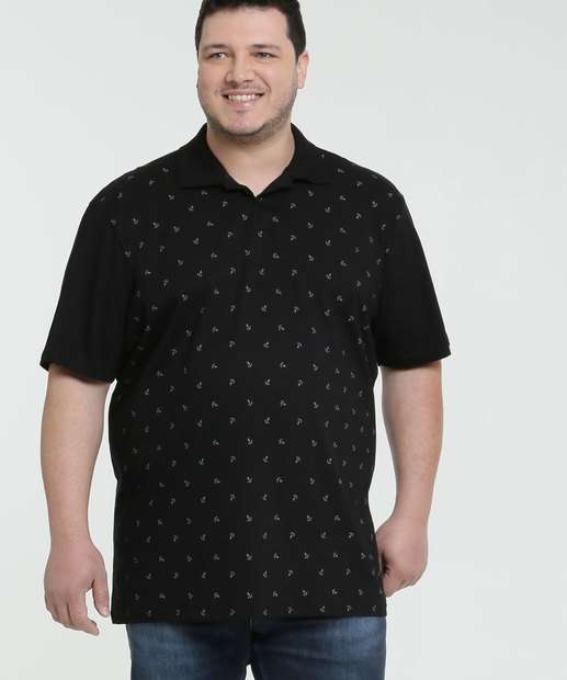 Image_Polo Masculina Estampa Âncoras Plus Size MR