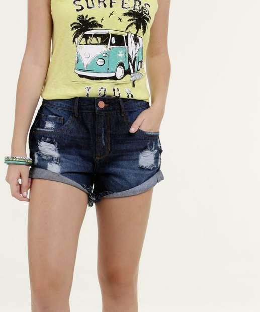 Image_Short Feminino Jeans Destroyed Barra Dobrada Marisa