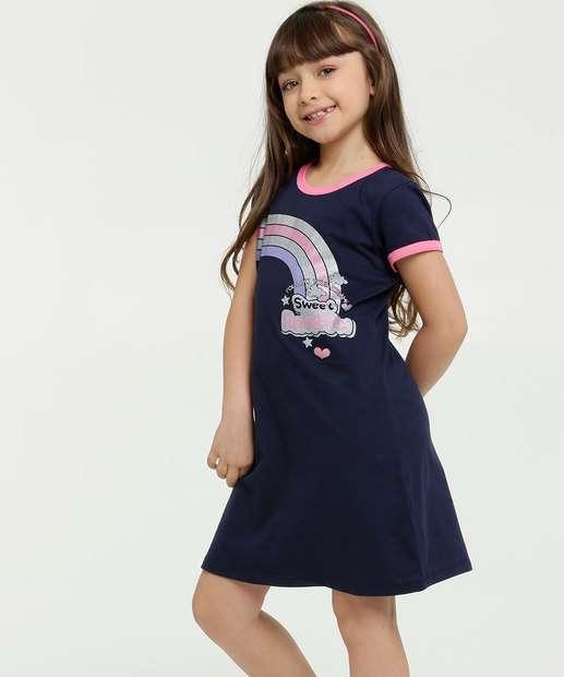 Image_Vestido Infantil Estampa Arco Iris Manga Curta
