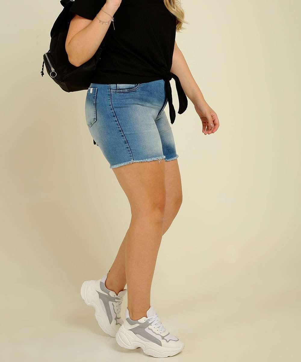 Short Plus Size Feminino Jeans Barra Desfiada Razon