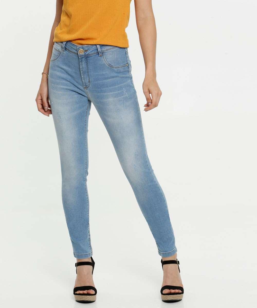 Calça Skinny Puídos Feminina Uber Jeans
