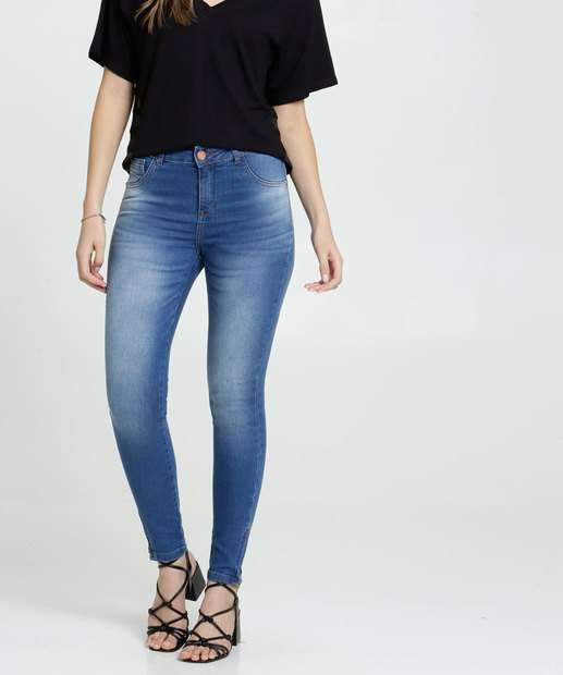 Image_Calça Skinny Feminina Puídos Uber Jeans