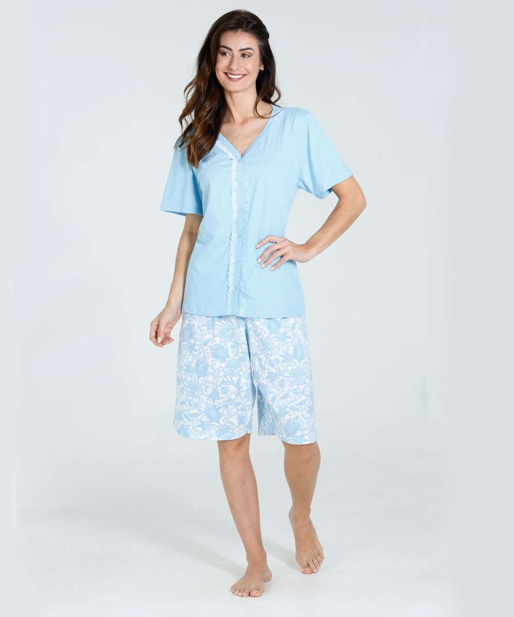 Pijama Feminino Bermudoll Renda Paisley Marisa