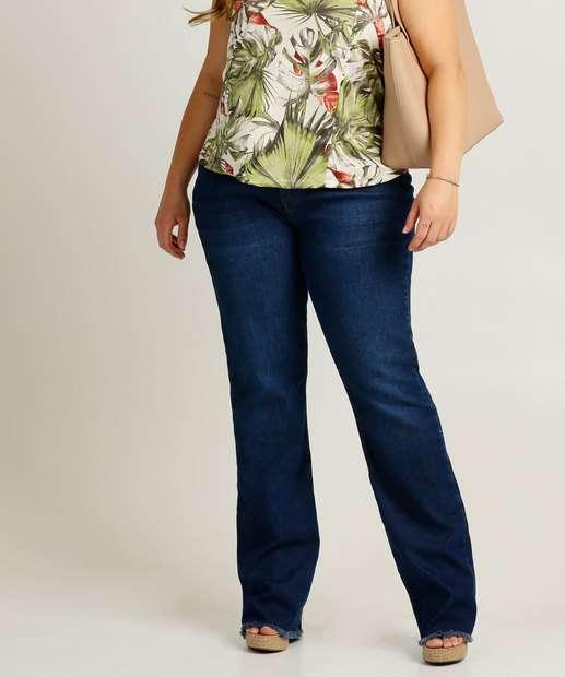 Image_Calça Plus Size Feminina Jeans Flare Barra Desfiada