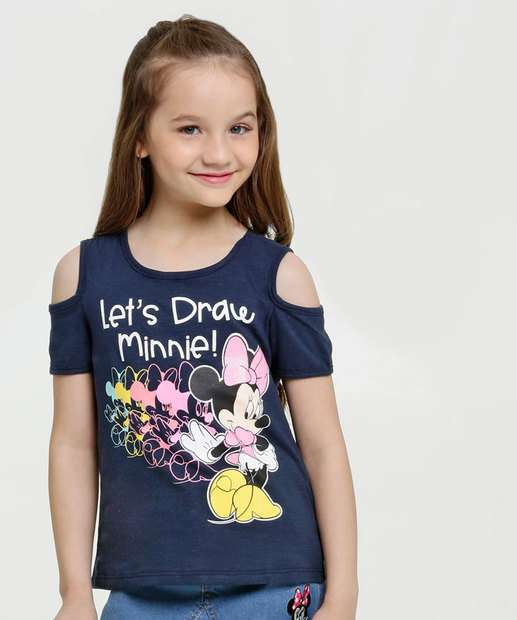 Image_Blusa Infantil Open Shoulder Estampa Minnie Disney