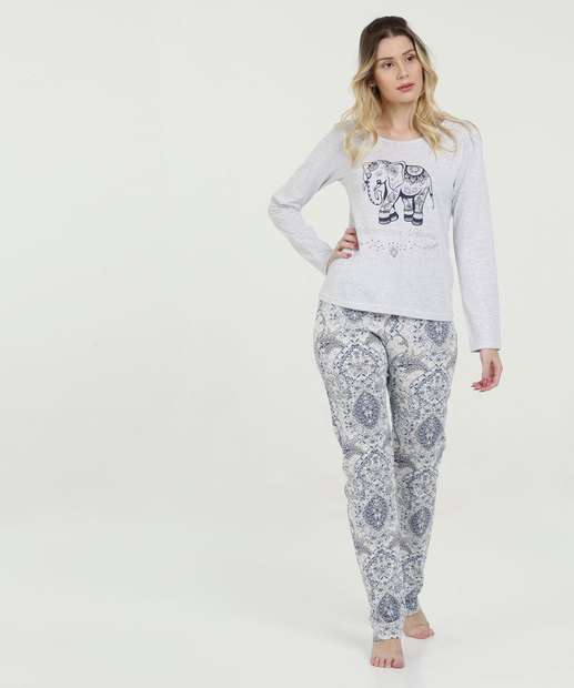 df98919531 Pijama Feminino Estampa Elefantes Manga Longa Marisa