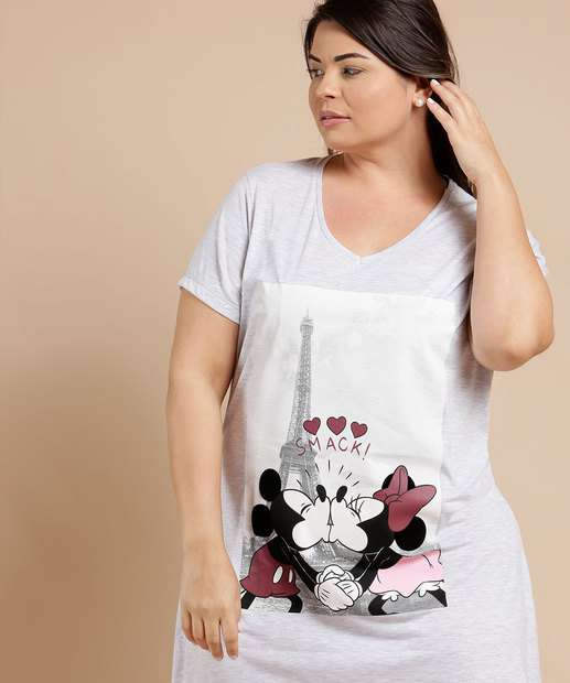 Image_Camisola Feminina Estampa Mickey e Minnie Plus Size Disney