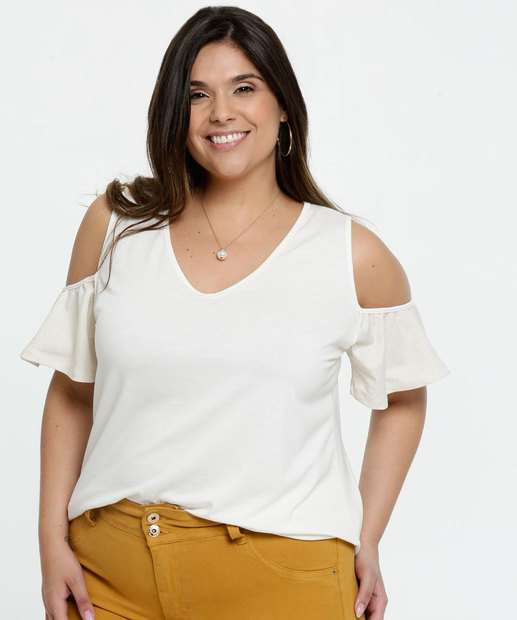 Image_Blusa Feminina Open Shoulder Plus Size Manga Curta