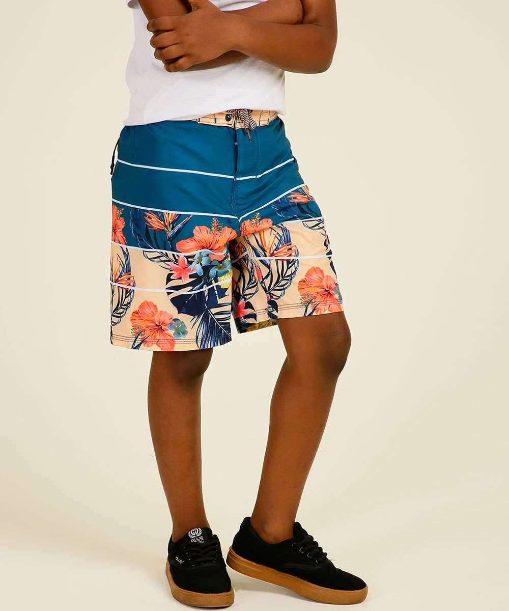 Bermuda Infantil Recorte Tropical Yacht Master Tam 4 a 10