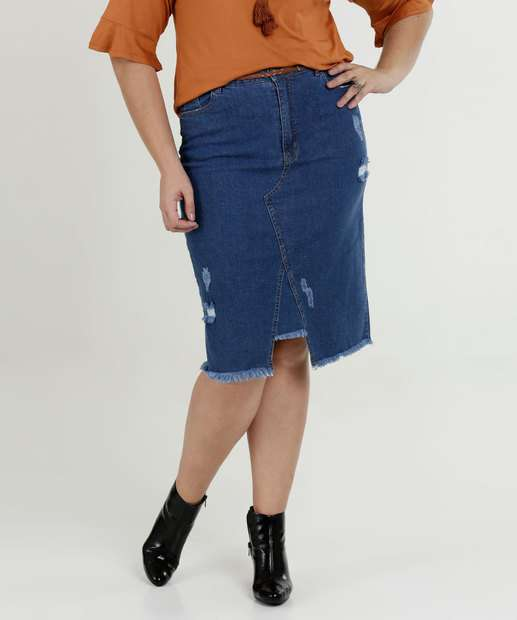 Image_Saia Feminina Midi Jeans Destroyed Plus Size Razon