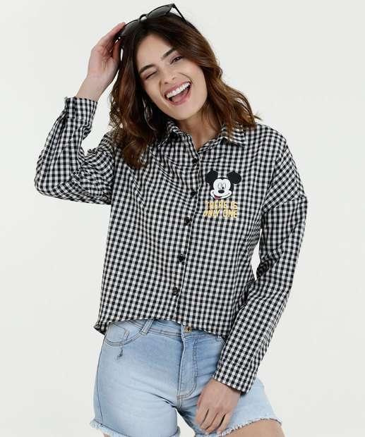 7ad958e1e39e2 Camisa Feminina Estampa Xadrez Alongada Mickey Disney