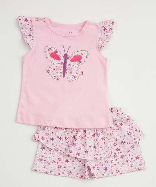 Image_Conjunto Infantil Bebê Estampa Floral Manga Curta Ralakids