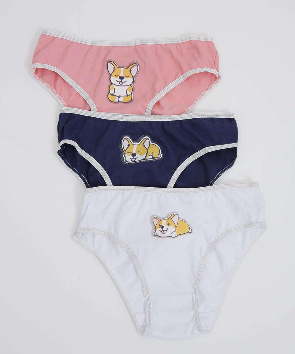 Kit 3 Calcinhas Infantil Estampa Cachorro Tam 2 a 10