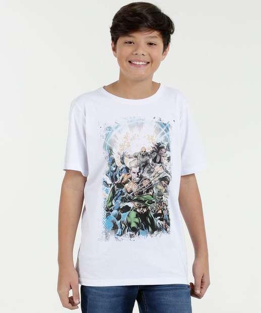 Image_Camiseta Juvenil Estampa Super Heróis Manga Curta Liga da Justiça