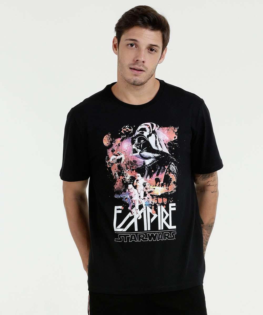Camiseta Masculina Estampa Star Wars Manga Curta Disney  7a00e4b626c