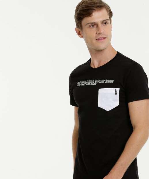 Image_Camiseta Masculina Bolso Manga Curta Rock & Soda
