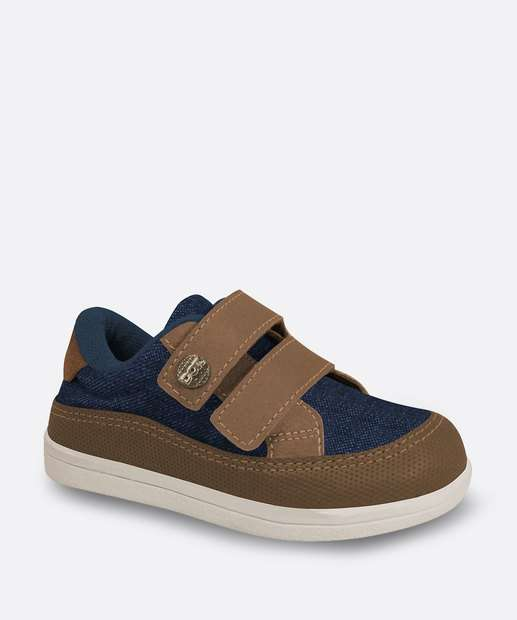 Image_Tênis Infantil Casual Recorte Jeans Velcro