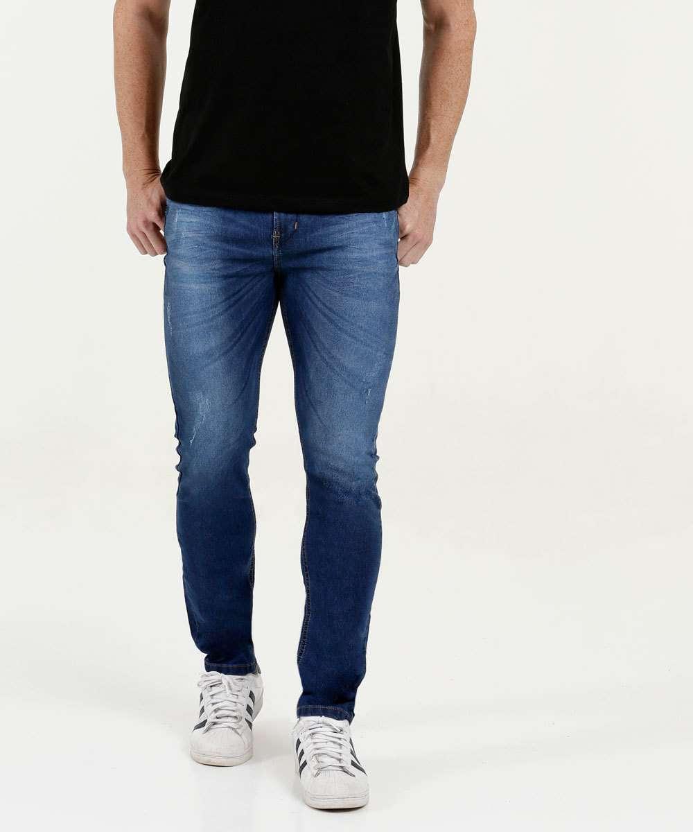 Calça Masculina Jeans Slim Puídos