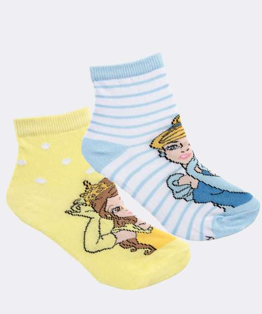 Image_Kit 2 Pares Meias Infantil Princesas Disney