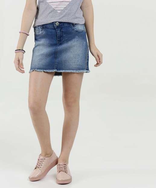 Image_Saia Juvenil Jeans Strass Puídos Barra Desfiada