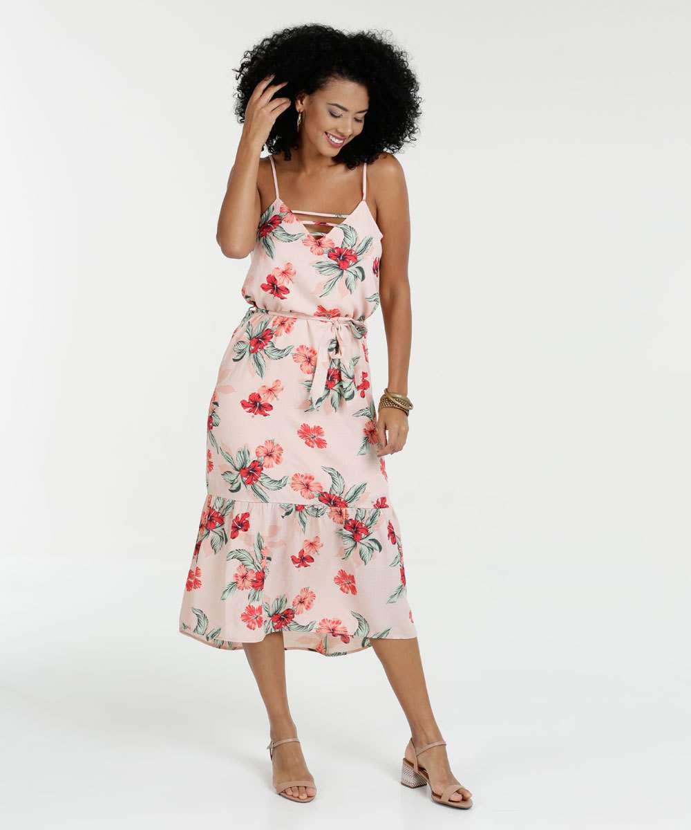 a088b374b Vestido Feminino Midi Floral Alças Finas Marisa