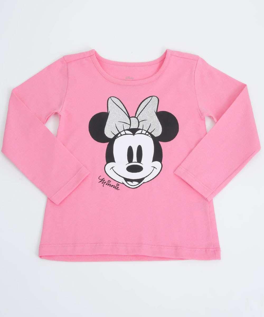 Blusa Infantil Manga Longa Estampa Minnie Disney Tam 1 a 3