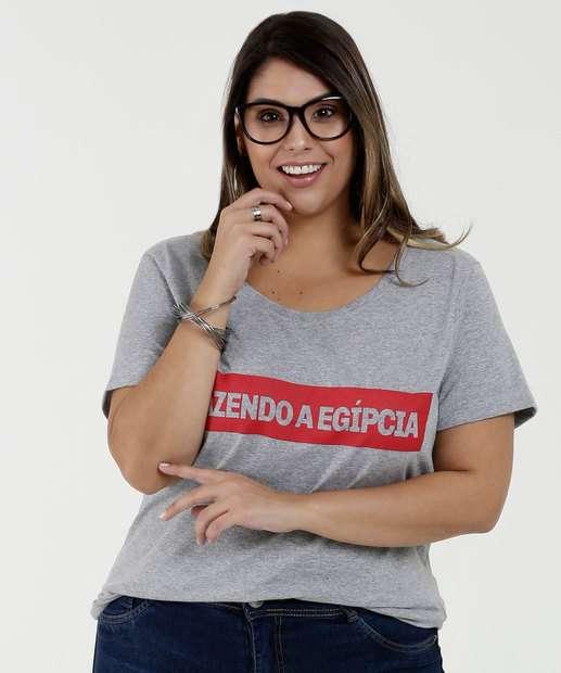 e93d878409b Blusa Feminina Estampa Frontal Plus Size Manga Curta Marisa