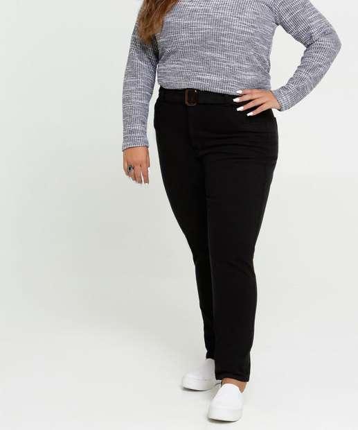 Image_Calça Feminina Sarja Skinny Cinto Plus Size