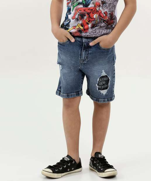 Image_Bermuda Infantil Jeans Puídos Frase Mr