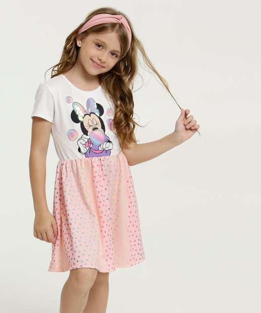 Image_Vestido Infantil Estampa Minnie Bolinhas Manga Curta Disney