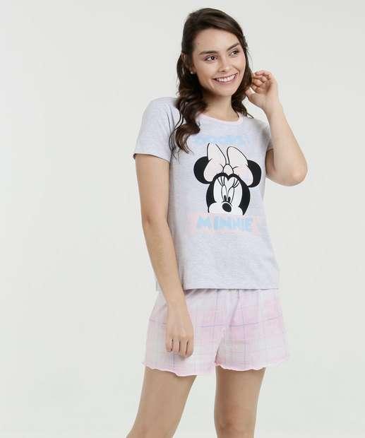 Image_ Pijama Feminino Estampa Minnie Manga Curta Disney